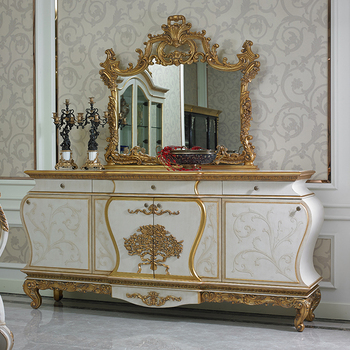 YB67 Luxury French Louis XV Golden Buffet Sideboard Cabinet Antique Dining Room With Mirror