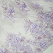 Lilac bridal lace dress fabric 3d floral tulle fabric with beads new trends french lace for collection 2019 HY0676-4