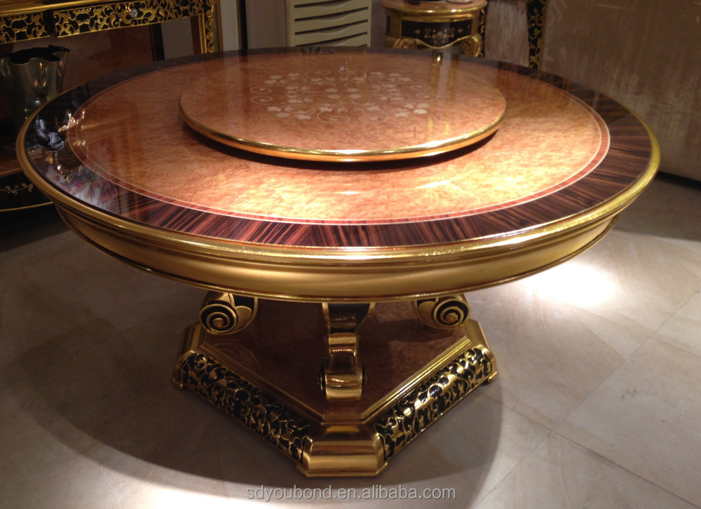 0061 Italian Clic Round Hand Carved Dining Table With Rotating Centre