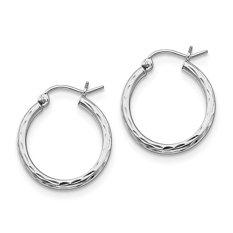 .925 Sterling Silver Rhodium-plated Diamond-cut Hoop Earrings 2mm x 22mm
