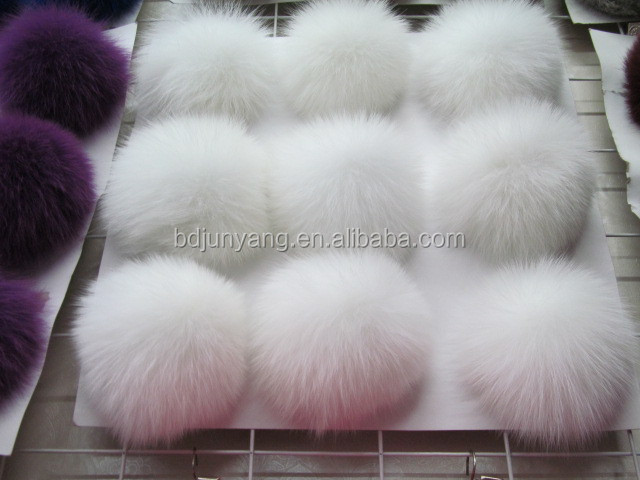 Modern fox fur ball accessory keyring and bag pendant hat with fur pom pom
