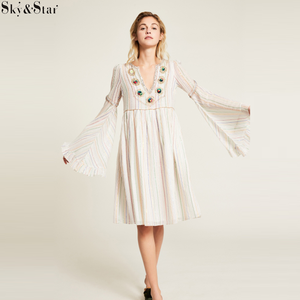 White Indiana Dress Ruffled Flared-Sleeve Loose Fit Dress with Delicate Embroidery Design on Neck Position