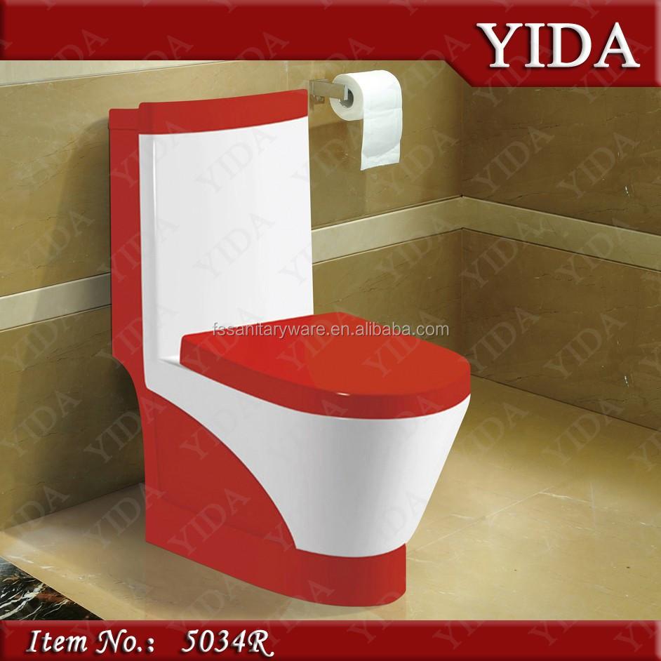 المرحاض السيراميك أحمر الحمام الملونة خزانة الماء مع غطاء مقعد