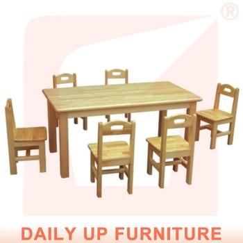 Solid Wood Preschool Desk 120 60cm Wooden Kids Nursery School Kindergarten Furniture Children Study