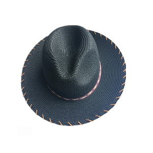 Black woven band fedora straw hat for beach