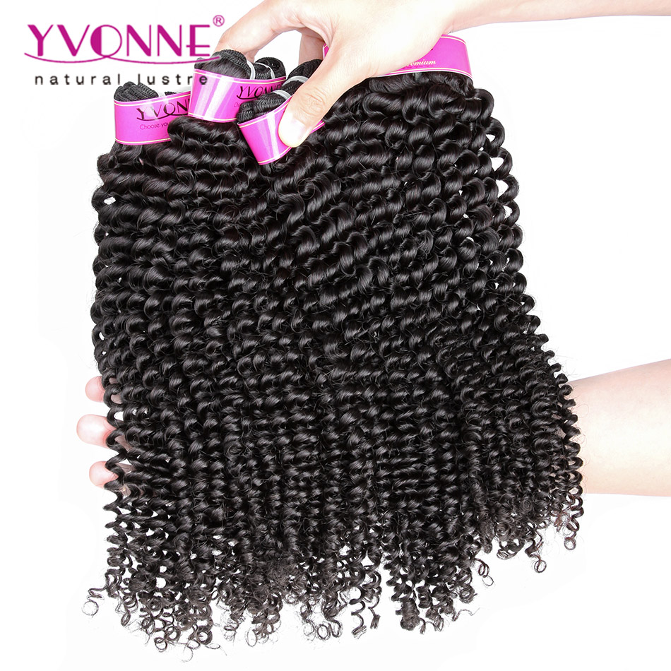 2018 Yvonne Brazilian Intact Cuticle Kinky Curly Virgin Remy Human Hair Bundle for Black Women