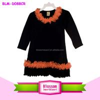 Persnickety Chiffon Ruffled Long Sleeve Toddler Dress baby frock design fancy orange/black Halloween dress