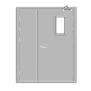 1 2 3 Hours Certificated Unequal Double Leaf Fire Rated Door Steel