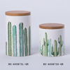 Decorative Cactus ceramic jar with lid for table decoration