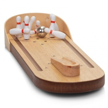 Attractive Desktop Bowling Game Wooden Mini Bowling Game Wood Tabletop Bowling Ball 10  Pin Game Set