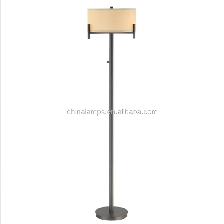 Antique Bronze Floor Lamp With Cloth Shade,Torch Design And 3-way ...