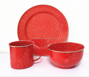 Red Tableware/Dinnerware Set- Plate/Bowl/Mug with Speckle and Stainless steel Rim