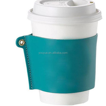 Factory Custom Reusable Leather Hot Coffee Cup Sleeve with Logo