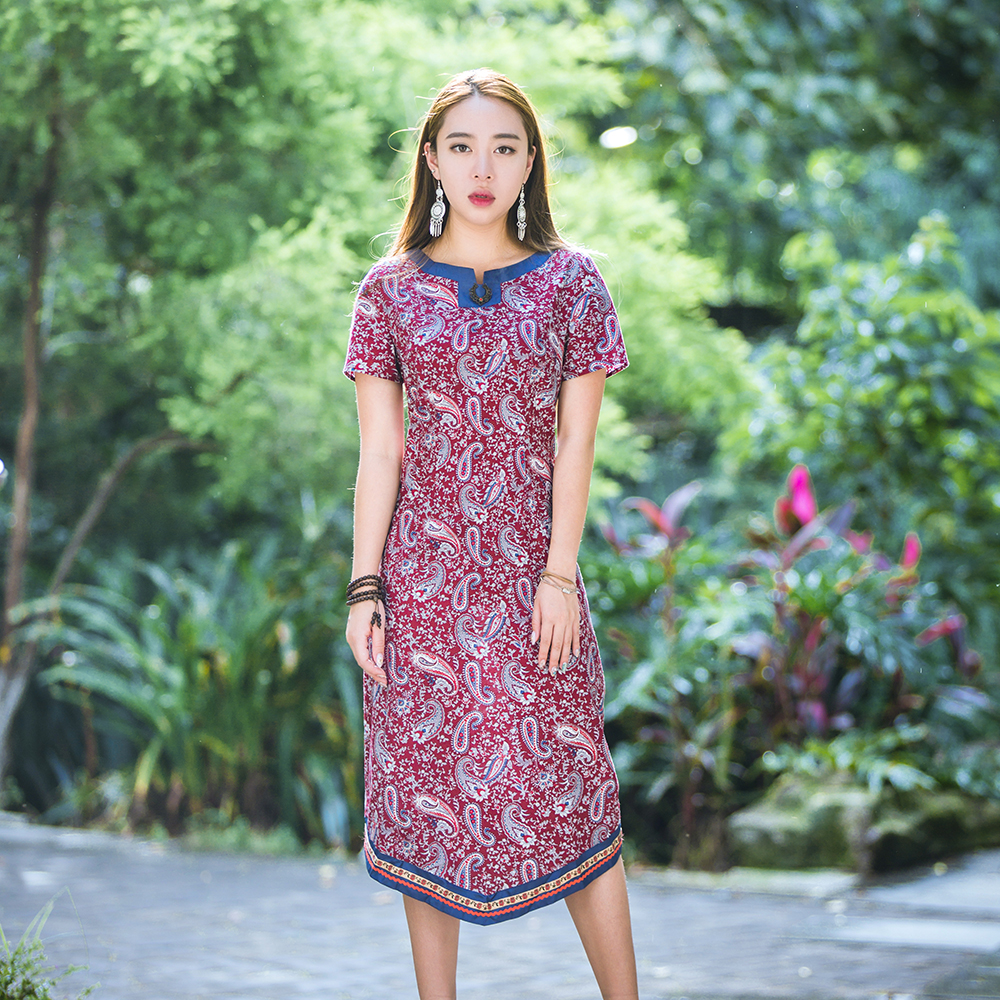 HongShang Chinese Ethnic Dress Summer Qipao dress Slim body show waist Lace trimming one piece dress Make to order