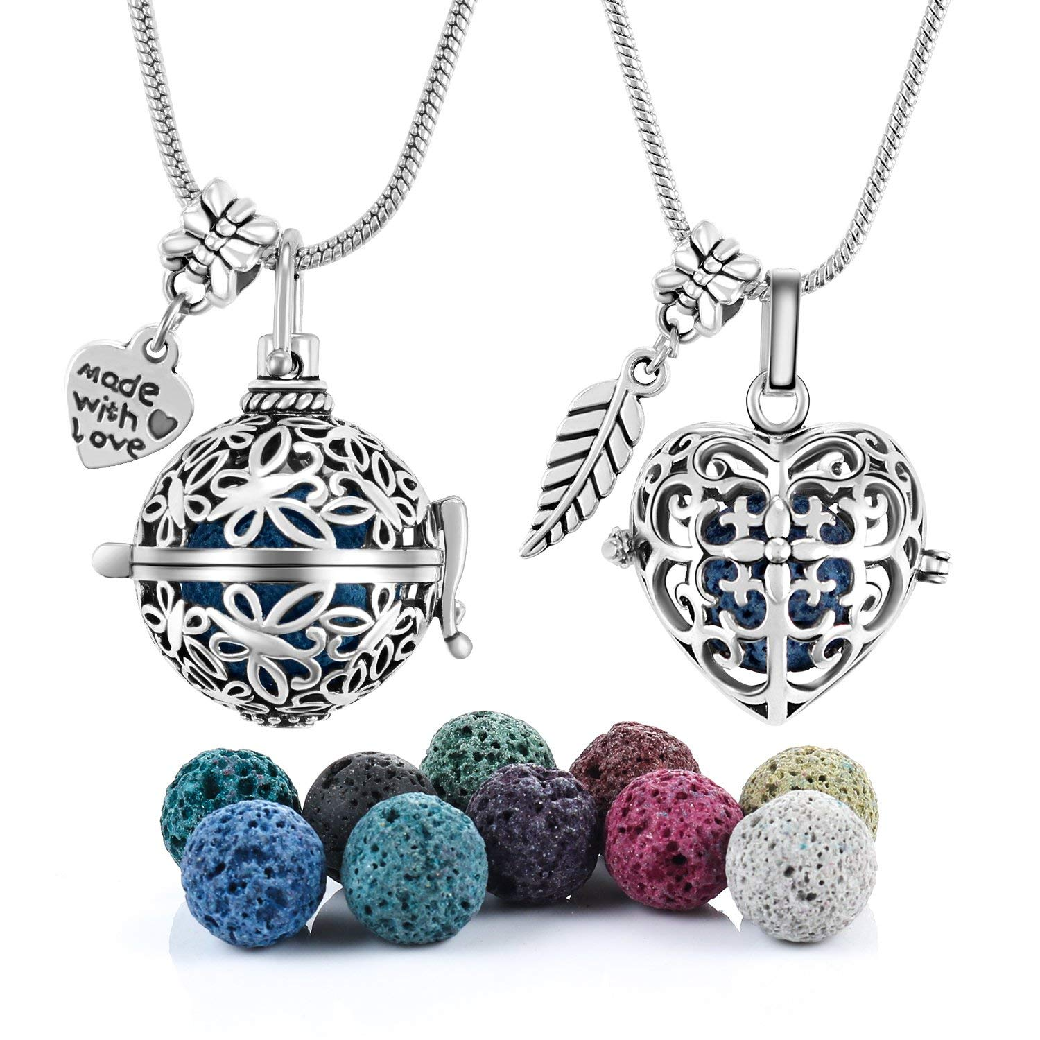 2 PCS Antique Silver Aromatherapy Essential Oil Diffuser Locket Necklace Pendant, Round/Heart Cage Locket Bulk with 10 Lava Stone Rock Beads Balls Set for Necklace Jewelry