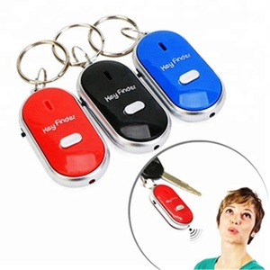 Wholesale promotional gifts electronic light keychain remote sound control anti-lost alarm whistle key finder