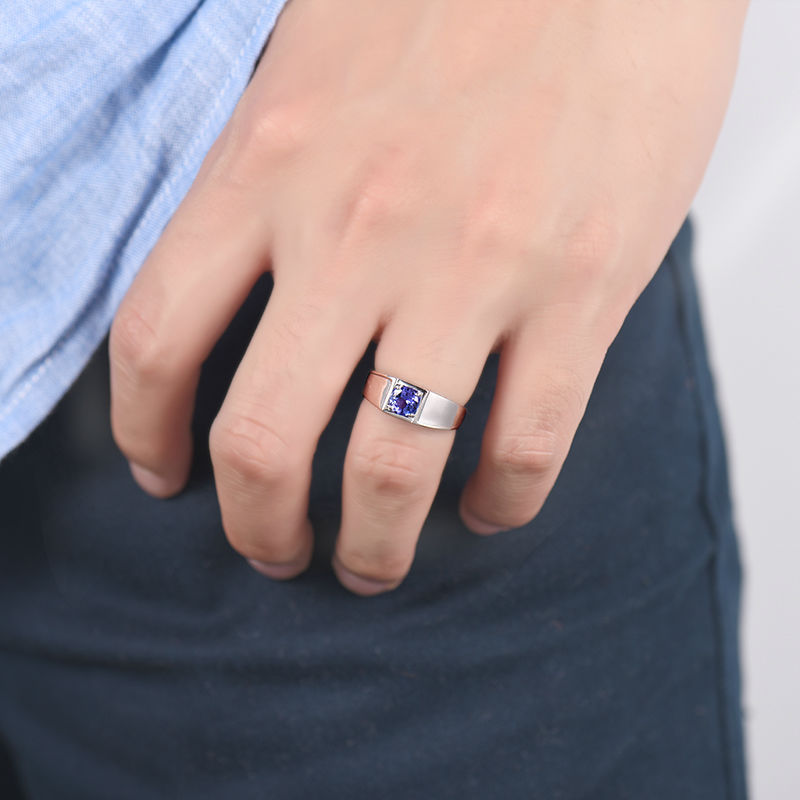tanzanite white fine natural men from round rings gem gold mens for s in birthday jewelry husband gift item ring accessories on