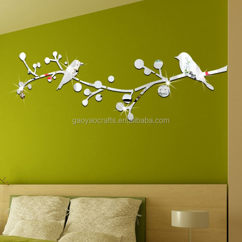 3d Branch Bird Mirror Wall Decor Home Decoration For Living Room Tv ...