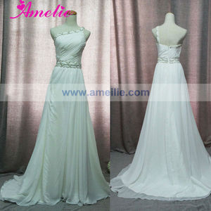 Real Sample One Shoulder Chiffon Beach Wedding Dresses