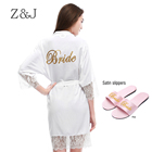 High quality Lace 100% Cotton Ladies Dressing Gowns of sexy Wedding bride