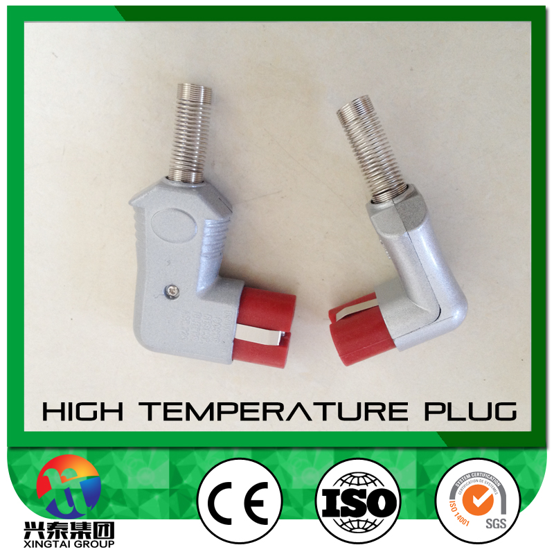 High Temperature European Plug-Female, silicone rubber terminal base, round pin heater appliance connector. Left or right angle