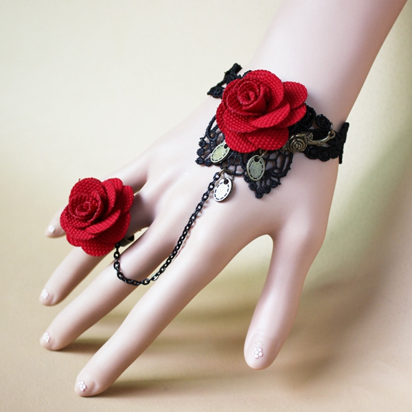 Queena Palace Retro Black Lace Rose Ring Bracelet