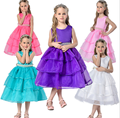2016 New Summer Baby Girl s Wedding Bridal Bridesmaid Organza meninas vestir Children 3D Rose Petal