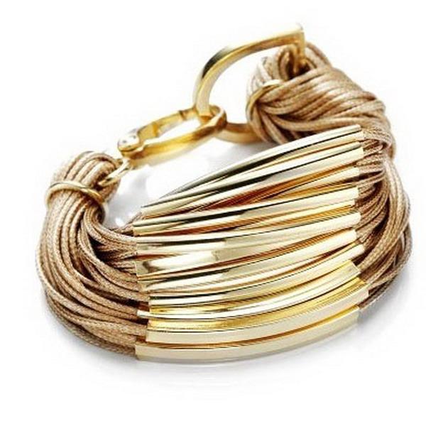Multi Strand Tube Bracelet Gold Bar Cord Bracelet Knot