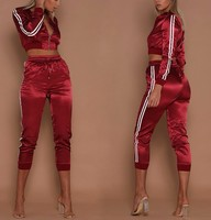 Wholesale high quality latest design custom oem slim fit satin tracksuits womens silk tracksuit with side stripe