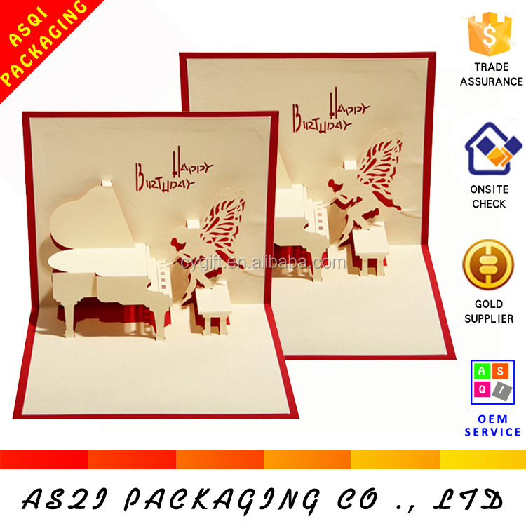 Angel And Piano Design 3d Pop Up Sample Birthday Card Buy Sample – Sample of Birthday Card