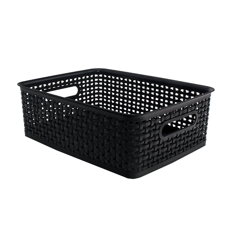 """ADVANTUS Medium Plastic Weave Bins, 13.75"""" x 10.5"""" x 4.5"""", 2 Pack, Black (40327)"""