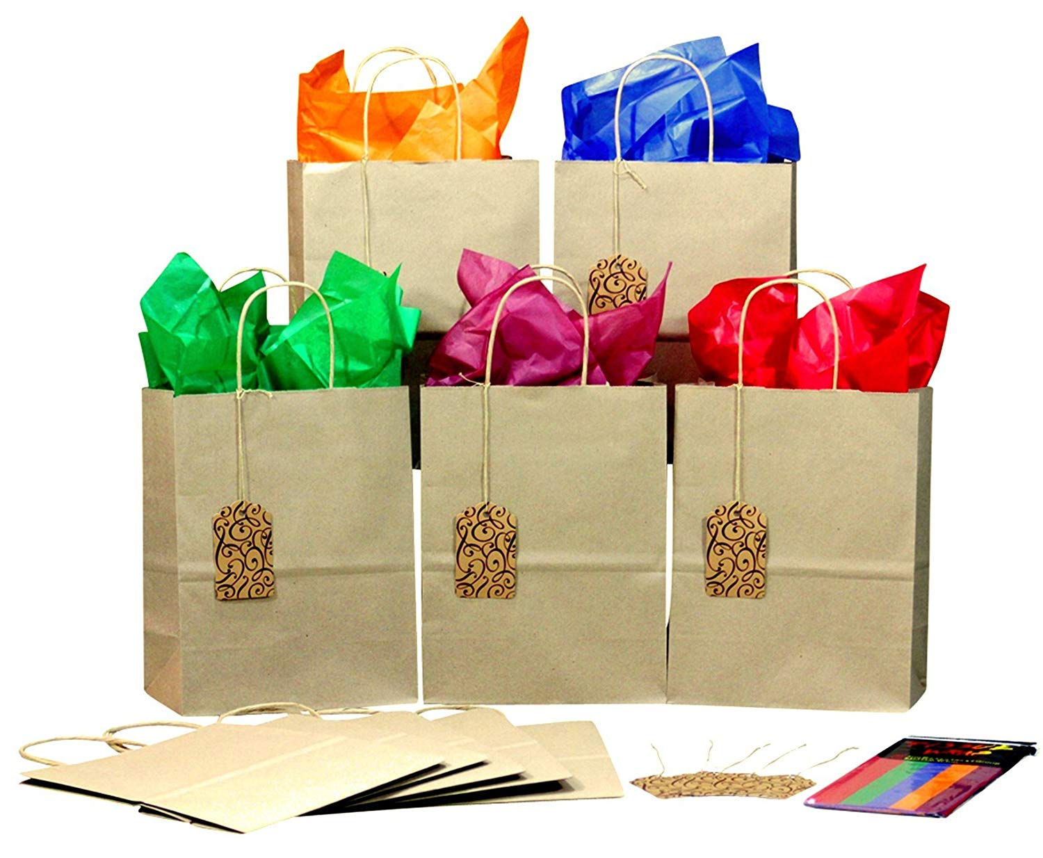Gift Bags with Color Tissue Paper & Gift Tags - Set of 10 Medium Size Bags with Handles for Birthdays, Office Parties, Holidays - Decorate or Gift As-is