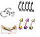Body Piercing Jewlery Curved Barbell with Spike Kit Eyebrow Ring Eyebrow Naevel Piercing