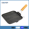 Cast Iron grill pan with folding handle square frying pan wood handle cast iron pan