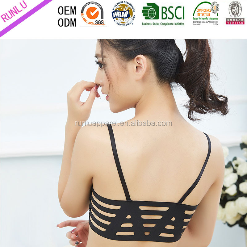 New design lady's sexy multi elastic strape double layer pushing up GYM bra