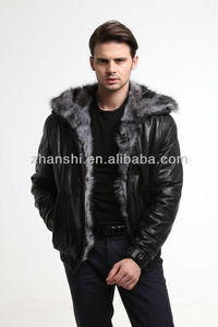 2016 High quality Men Casual Black Winter Leather Jacket With Fur Lining