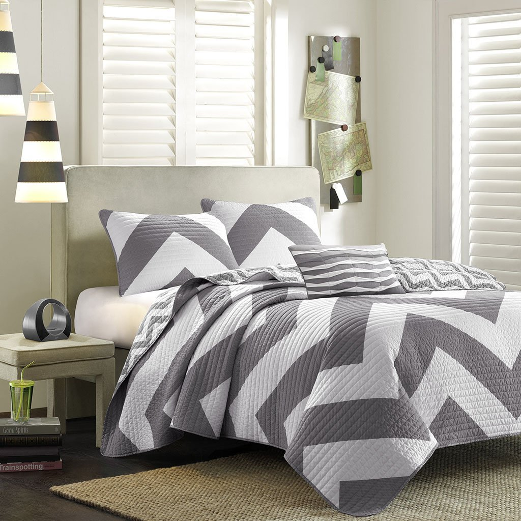 Get Quotations Mi Zone Libra King Cal Quilt Bedding Set Grey Chevron