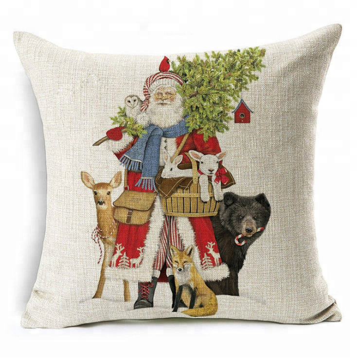 wholesale red deer jute christmas cushion covers