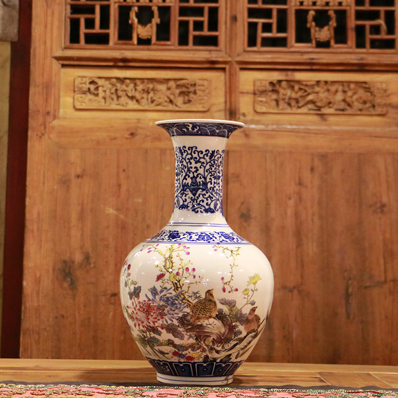 China archaistic qing dynasty style garden decoration cheap chinese traditional ceramic vase from Jingdezhen