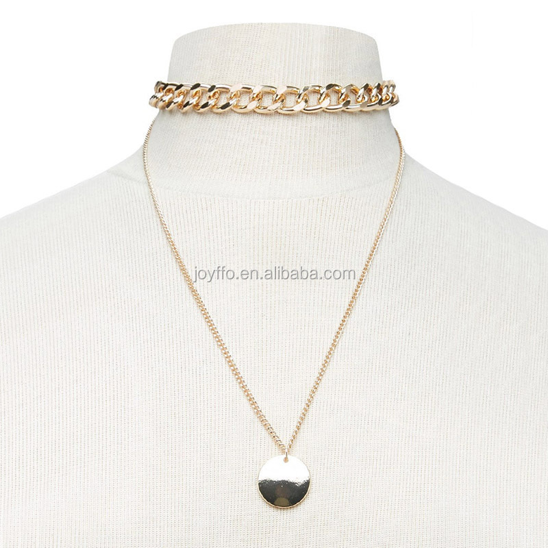 Double Layer Disc Pendant Choker Large Chunky Link Chain Necklace