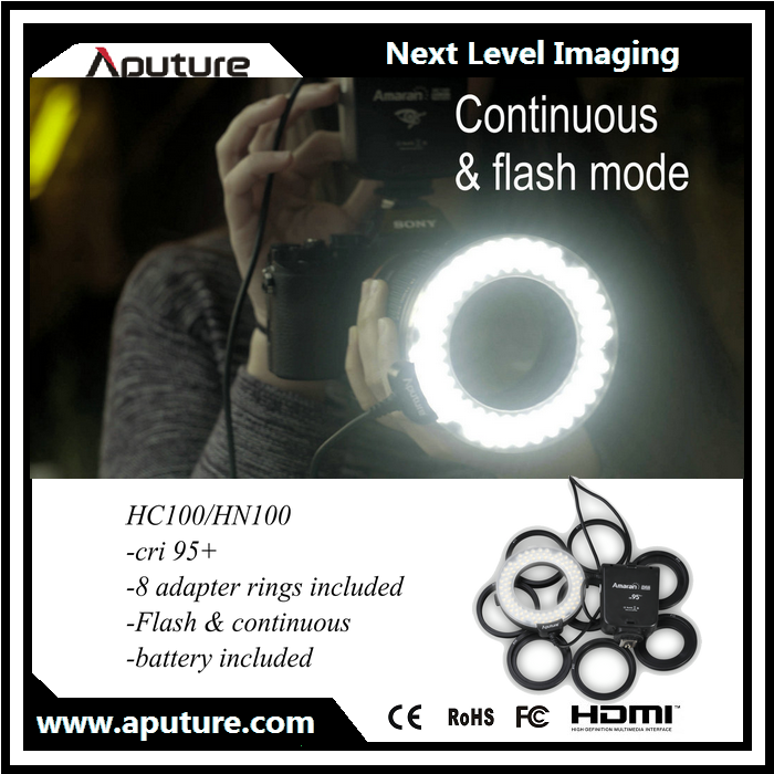 Amaran HC100 HN100 LED flash light for macro photography with adapter ring for Canon Nikon