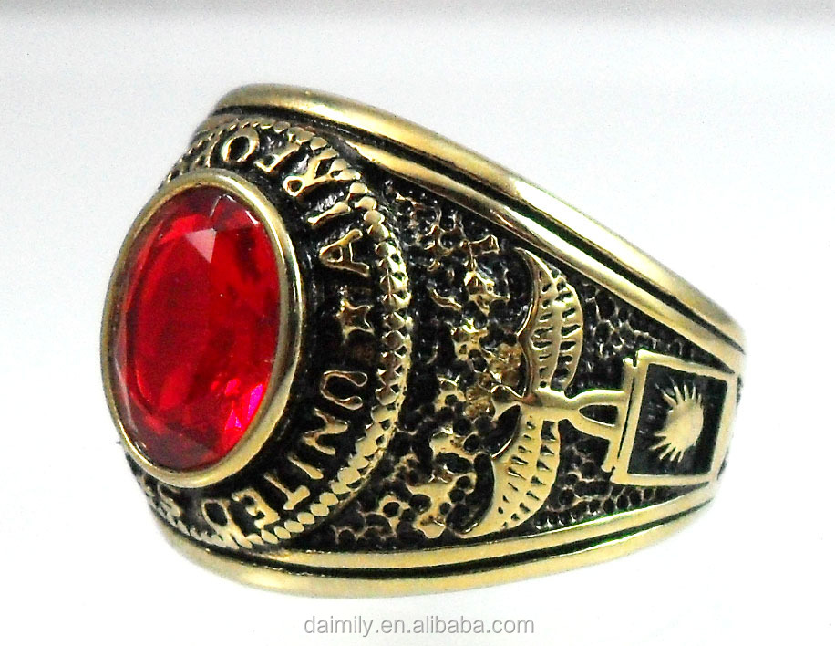 Daimily Wholesale Best Selling Vintage Custom Gold Military Jewelry Red Stone Ring