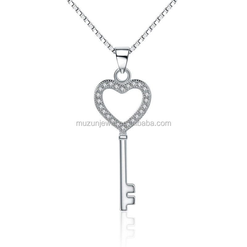 2017 New Necklace 925 Sterling Silver Love Key Cubic Zirconia Pendant