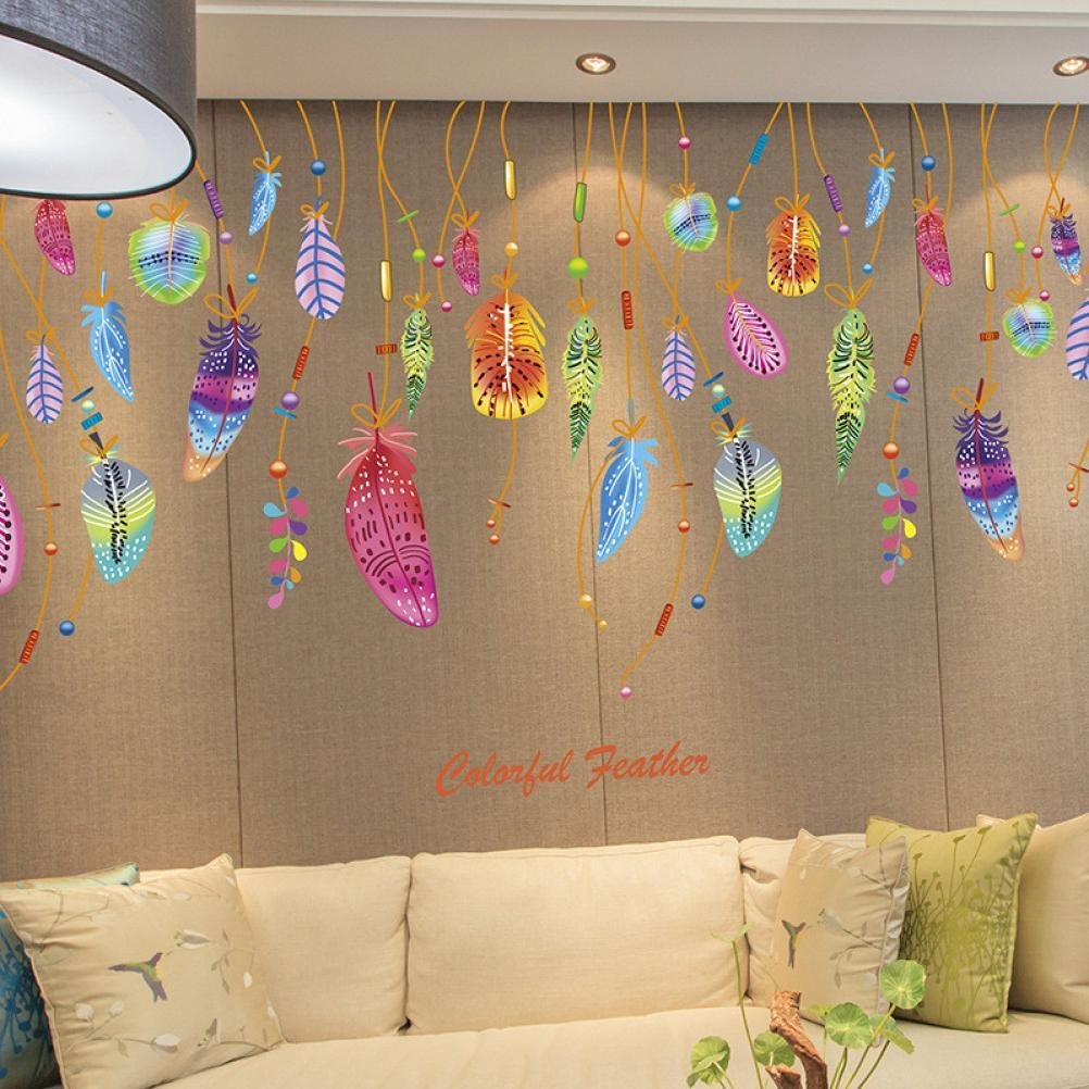 Oksale® Feather Classic Dream Catcher Wall Stickers Sofa Bedroom Living Room Home Art Vinyl Removable Applique Papers Mural Decor Decal