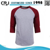 Custom long sleeve cotton men raglan t shirt