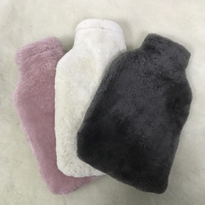 Classical Rubber Reusable Hot Water Bottle with Fleece Sheepskin Cover Natural White UK