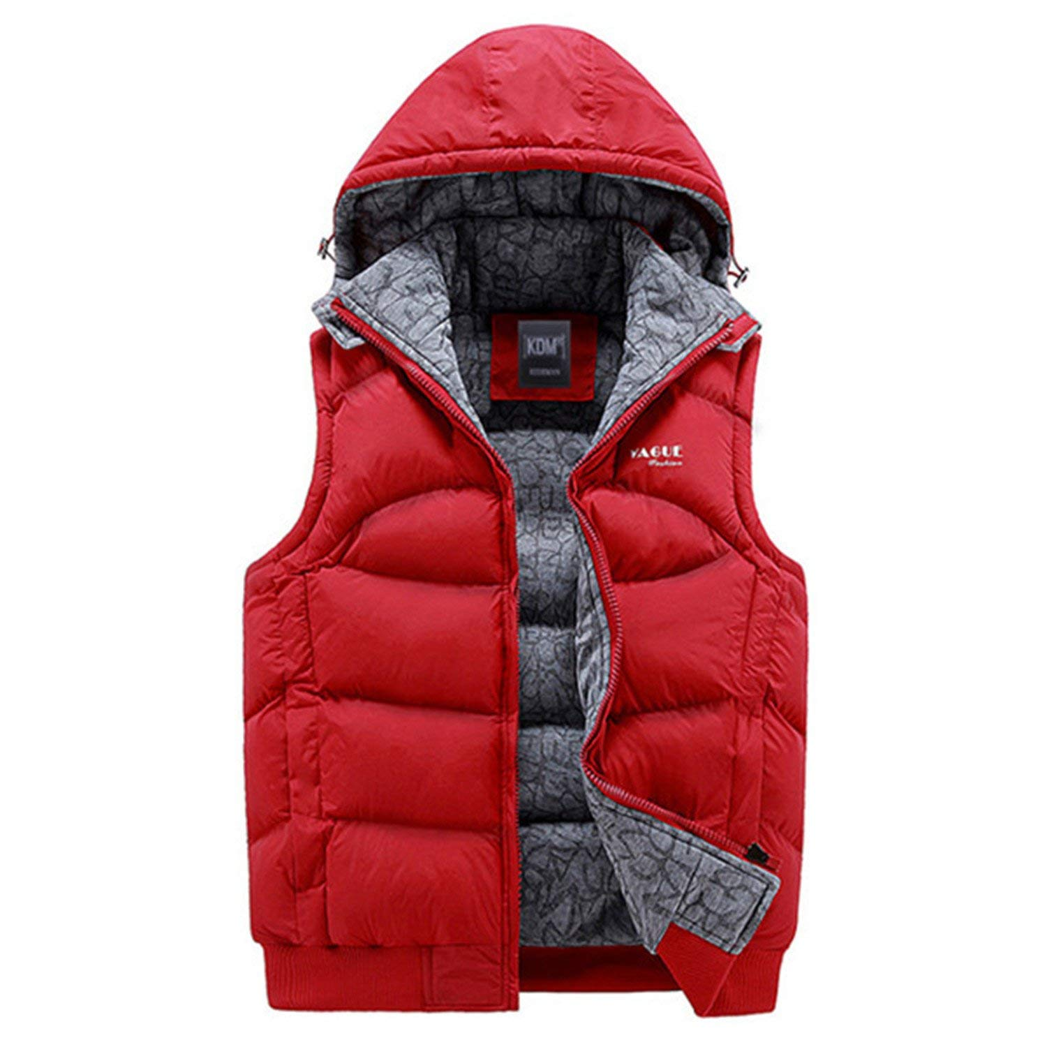 Jwhui Mens Jacket Sleeveless Vests Casual Coats Hooded Cotton-Padded Men Vest Men Thickening Waistcoat X356