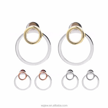 925 Sterling Silver Rhodium Rose Gold Plated Plain Overlapped Circle Stud Earrings 2017 Women Fashion Jewelry