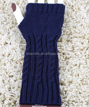 Navy blue Acrylic knit double layer gloves