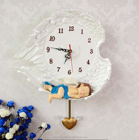 Personal fashion polyresin 3d angel baby cartoon picture wall pendulum clock